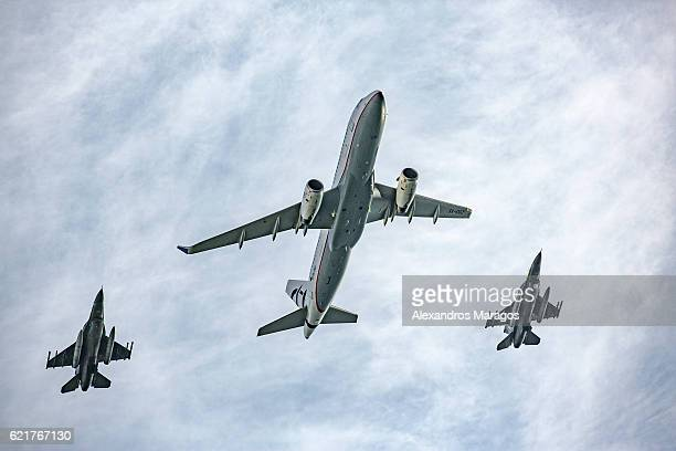 Airbus A320 in formation with F-16