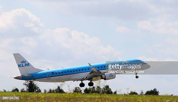 A Airbus A320 of Air FranceKLM airline company performs flight trainings on August 1 2016 at the Paris Vatry Airport near Vatry The Paris Vatry...