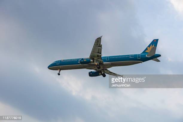 Airbus A321 airplane of Vietnam airlines landing at Tan Son Nhat Airport in Ho Chi Minh City