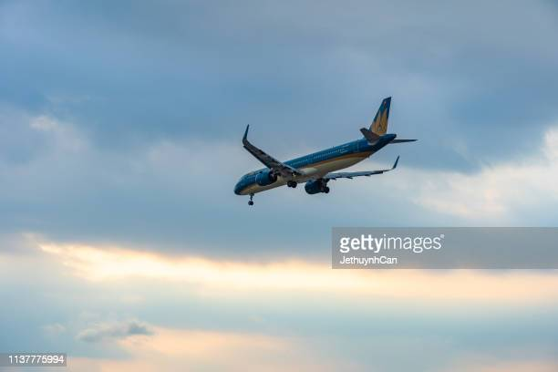 Airbus A321 neo airplane of Vietnam airlines landing at Tan Son Nhat Airport in Ho Chi Minh City