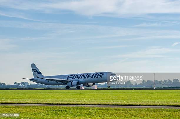 Airbus A321 of Finnair landing at Schiphol