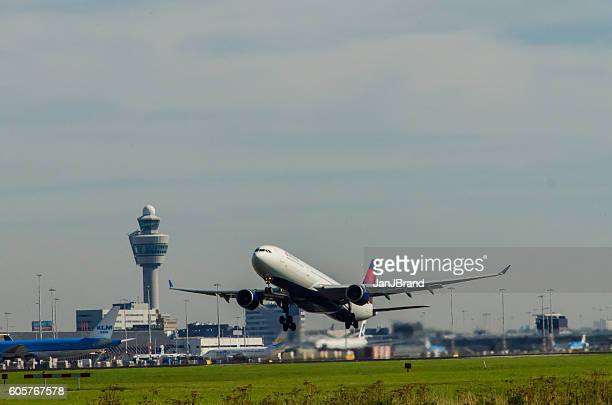 Airbus A330 of Delta Airlines taking off at Schiphol's Polderbaan