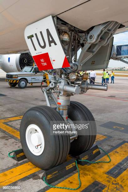 airbus a330neo first flight to sao paulo international airport / guarulhos, brazil - airplane tail stock pictures, royalty-free photos & images