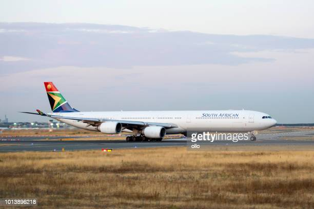 Airbus A340 of South African Airlines is taking off