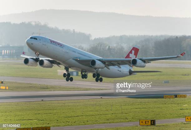 Airbus A340 of Swiss International Air Lines at take-off