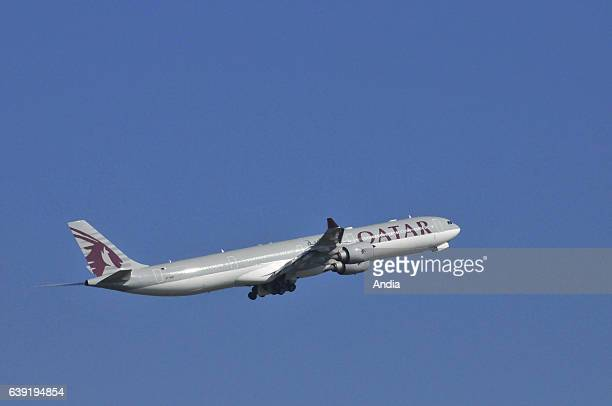 Airbus A340600 A7AGD belonging to Qatar Airways about to takeoff from Paris Charles de Gaulle Airport
