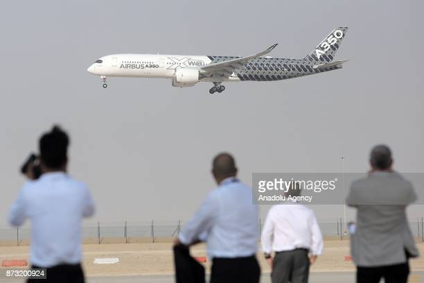 Airbus A350 developed by European aircraft manufacturer Airbus performs a flight during the first day of Dubai Airshow 2017 at Al Maktoum...