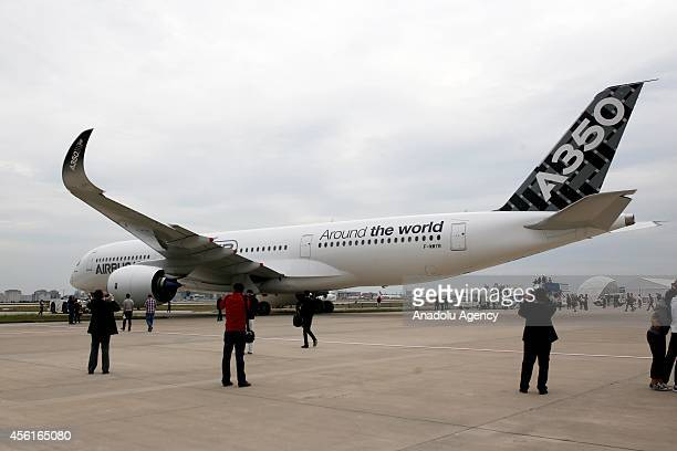 Airbus A350 XWB test aircraft MSN5 is exhibited during the 10th Istanbul Airshow 2014 in Istanbul Turkey on September 26 2014