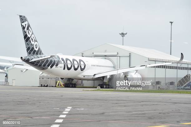 Airbus A3501000 is pictured on the tarmac on March 20 2018 in Blagnac near Toulouse southwestern France / AFP PHOTO / PASCAL PAVANI