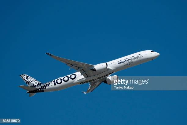 Airbus A3501000 performs a flying display on the first day of the 2017 Paris Air Show at Le Bourget Airport on June 19 in Paris France
