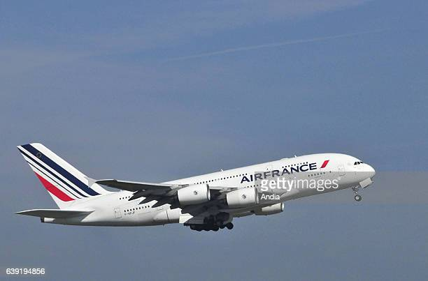 Airbus A380 FHPJF belonging to Air France about to takeoff from Paris Charles de Gaulle Airport