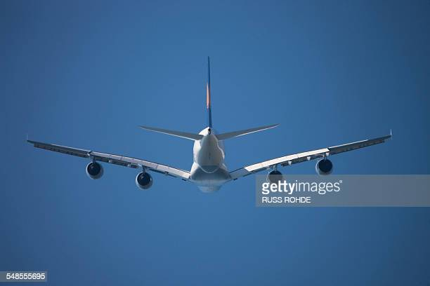 Airbus A380 flying in sky
