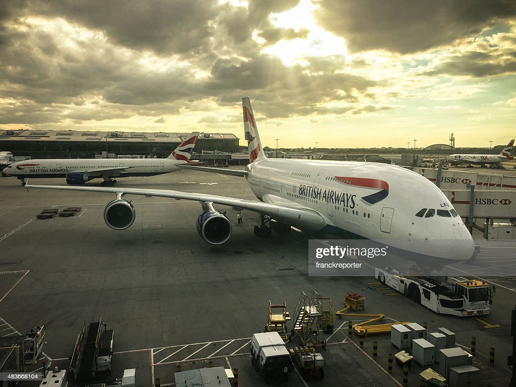 Airbus a380 parked on the runway airport : Stock Photo
