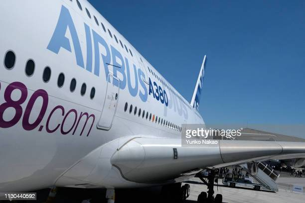 Airbus A380 plus concept is displayed on the first day of the 2017 Paris Air Show at Le Bourget Airport on June19 in Paris France