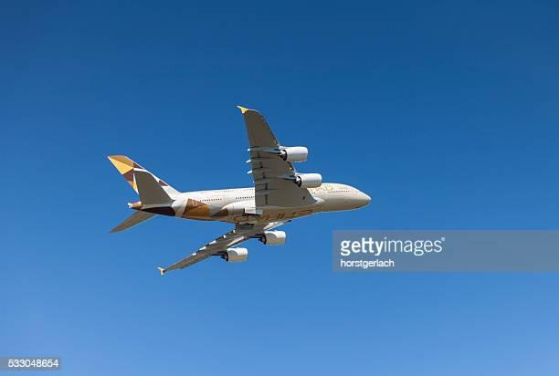 Airbus A380 takeoff at Hamburg Finkenwerder
