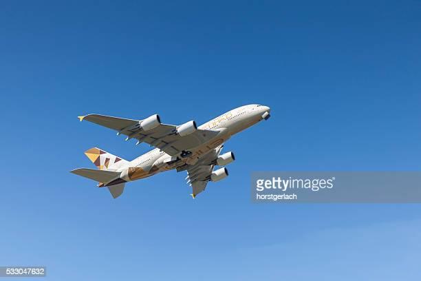 Airbus A380 takeoff at Hamburg