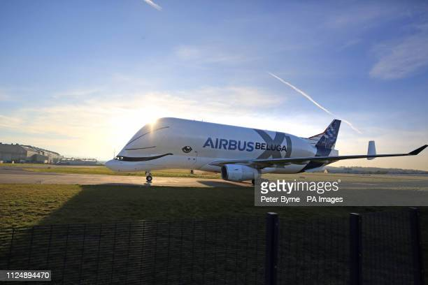 Airbus' BelugaXL supertransporter aircraft arrives at Hawarden Aerodrome in Broughton where it is due to carry out ground tests