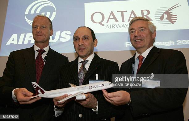 Airbus CEO and President Tom Enders Qatar Airways CEO Akbar Al Baker and Airbus Chief Commercial Officer John Leahy attend a photocall at Farnborough...