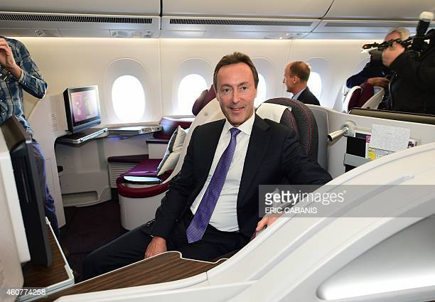 Airbus CEO Fabrice Bregier sits aboard an A350 during an hour flight over France on December 22, 2014. Airbus delivered its first next-generation...