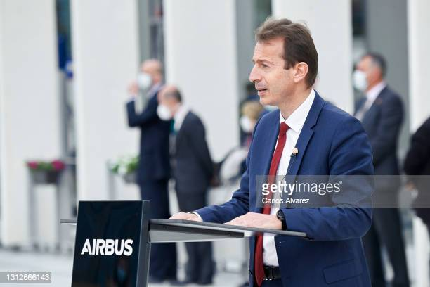 Airbus CEO Guillaume Faury inaugurates the new Airbus Campus on April 15, 2021 in Getafe, Spain.