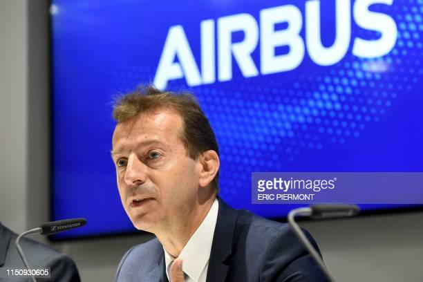 Airbus Chief Executive Officer Guillaume Faury speaks during a press conference at the Airbus pavillon during the International Paris Air Show on...