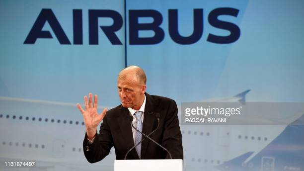 Airbus Chief Executive Officer Tom Enders delivers a speech during a ceremony for the delivery of the first Airbus A380 to the Japanese airline All...