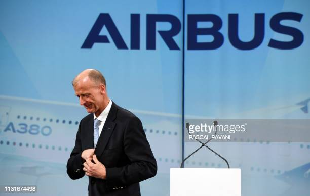Airbus Chief Executive Officer Tom Enders smiles after delivering a speech during a ceremony for the delivery of the first Airbus A380 to the...
