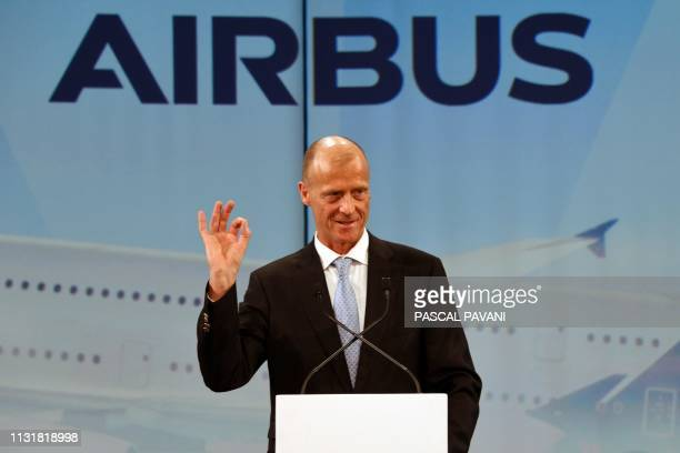 Airbus Chief Executive Officer Tom Enders speaks during a ceremony for the delivery of the first Airbus A380 to the Japanese airline All Nippon...