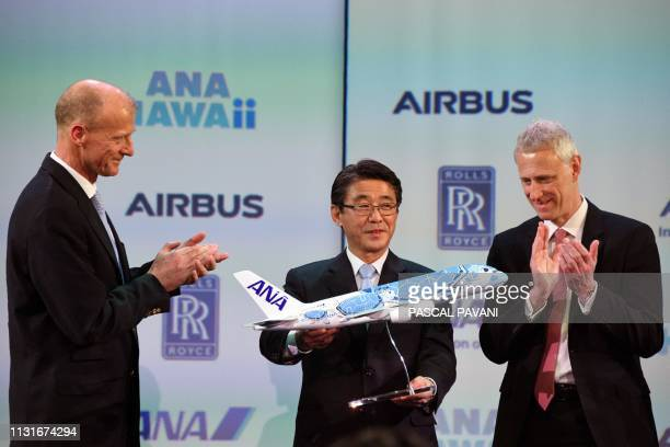 Airbus Chief Executive Officer Tom Enders the President and CEO of ANA Holdings Inc Shinya Katanozaka and Rolls Royce President For Civil Aerospace...
