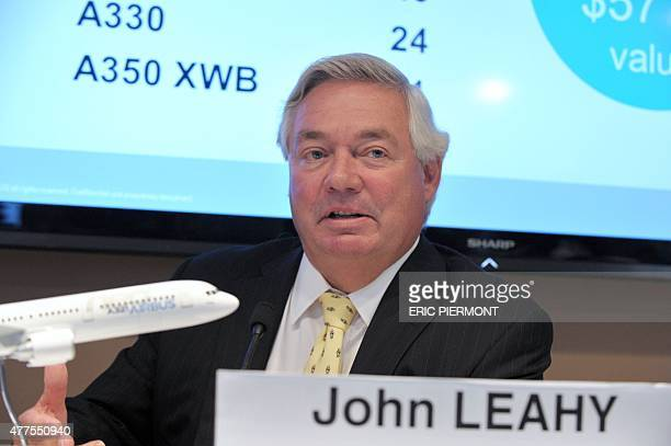 Airbus Chief Operating Officer Customers John Leahy listens to questions during Airbus' final conference at the International Paris Airshow at Le...
