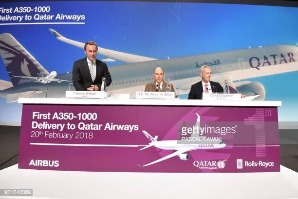 Airbus chief operating officer Fabrice Bregier speaks beside HE Mr Akbar Al Baker Group Chief Excutive Qatar Airways and RollsRoyce PresidentCivil...