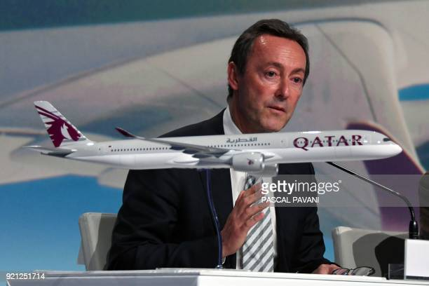 Airbus chief operating officer Fabrice Bregier speaks during a press conference announcing the delivery of the first Airbus A3501000 bearing the logo...