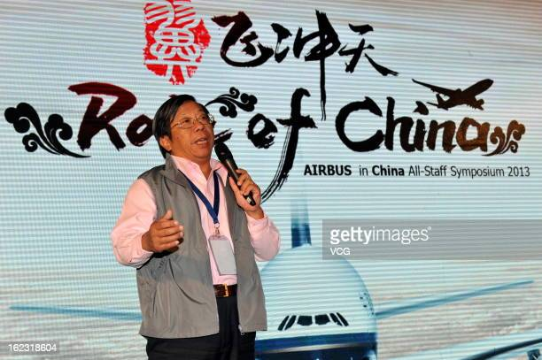 Airbus China president Chen Juming speaks during Airbus in China AllStaff Symposium 2013 on February 21 2013 in Beijing China Airbus delivered 125...