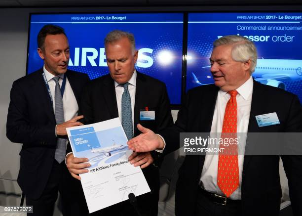 Airbus COO and President Commercial Aircraft Fabrice Bregier President and CEO of GE Capital Aviation Services Alec Burger and Airbus Chief Operating...
