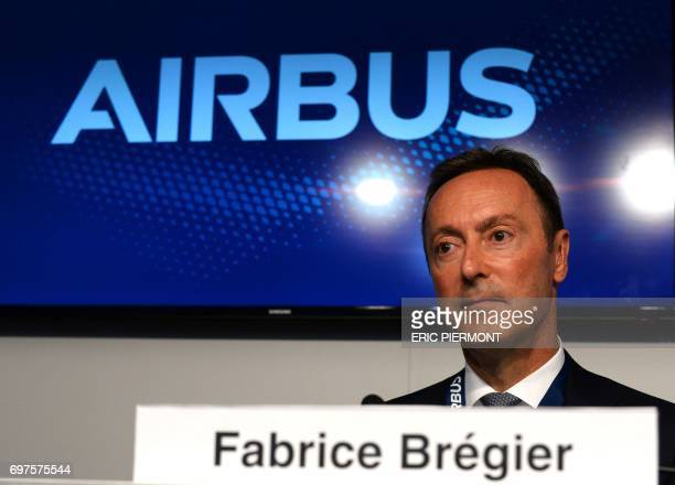 Airbus COO and President Commercial Aircraft Fabrice Bregier looks on during a signing press conference on June 19 2017 at Le Bourget airport during...