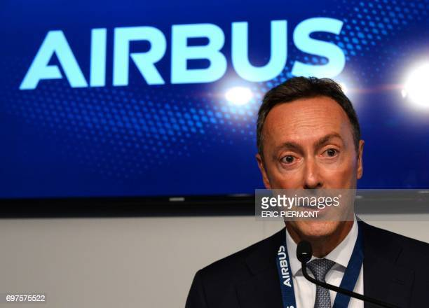 Airbus COO and President Commercial Aircraft Fabrice Bregier speaks during a signing press conference on June 19 2017 at Le Bourget airport during...