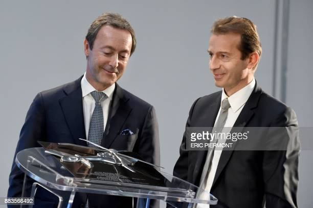Airbus Helicopters' President and CEO Guillaume Faury and Airbus COO and President Commercial Aircraft Fabrice Bregier attend the inauguration of the...