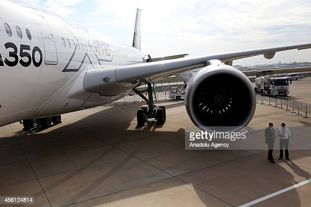 Airbus MSN5 the fifth and final member of the A350 XWB flight test fleet is exhibited during the 10th Istanbul Airshow 2014 in Istanbul Turkey on...