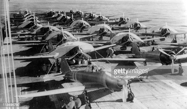 Aircraft are prepared for a morning sortie on the Imperial Japanese Navy aircraft carrier Zuikaku east of the Solomon Islands on May 5 1942 On May 7...