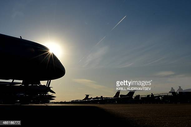 Aircraft are seen at an airfield during the MAKS-2015, the International Aviation and Space Show, in Zhukovsky, outside Moscow, on August 25, 2015....