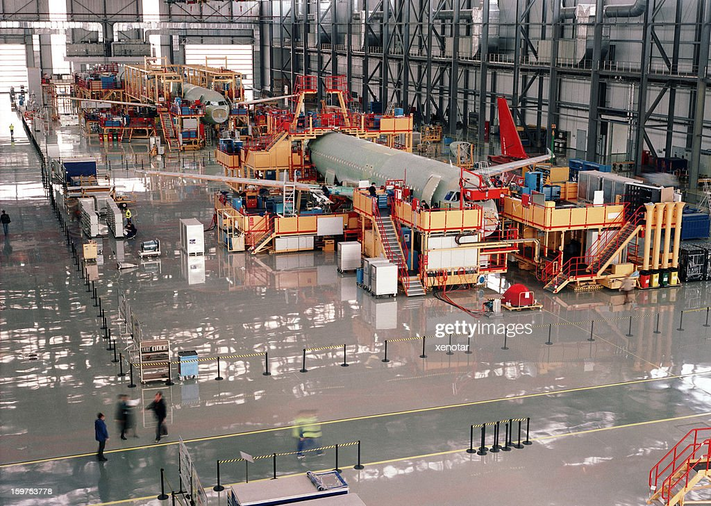 Aircraft assembly line : Stock Photo