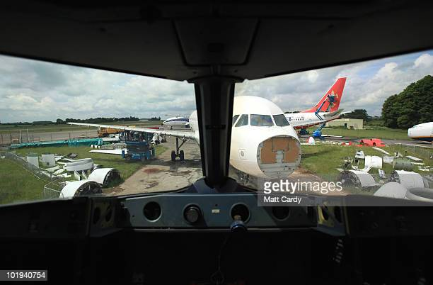 Aircraft at Air Salvage International are seen from the flight deck of a plane being dismantled on June 9, 2010 in Kemble, England. The aircraft is...