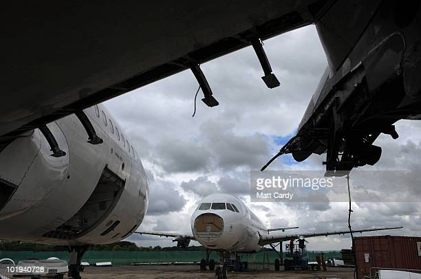 Aircraft at Air Salvage International sits as it is dismantled on June 9, 2010 in Kemble, England. The aircraft is one of a number currently being...