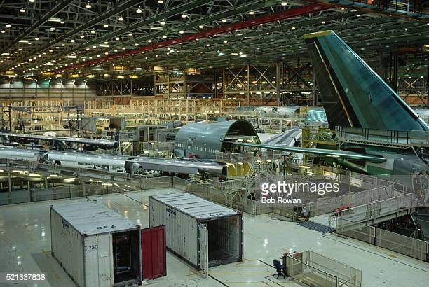 Aircraft Being Built in Boeing Aircraft Assembly Plant
