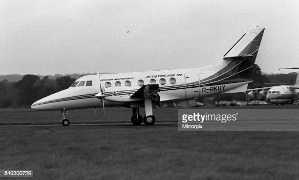 Aircraft British Aerospace BAe Jetstream May 1987 taxies out for a flight from BAe Hatfield in Hertfordshire