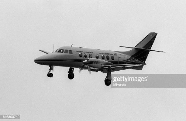 Aircraft British Aerospace BAe Jetstream May 1987 taxies out for a flight from BAe Hatfield in Hertfordshire.