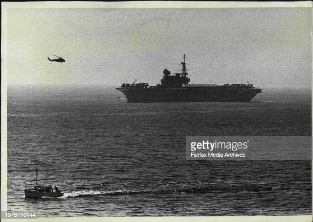 Aircraft carrier HMS Hermes off Sydney Harbour October 15 1968 Photo by Bob Rice/Fairfax Media via Getty Images