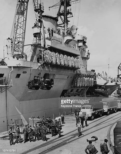 Aircraft Carrier Theseus Preparing To Sail To The Middle East In United Kingdom On August 4Th 1956
