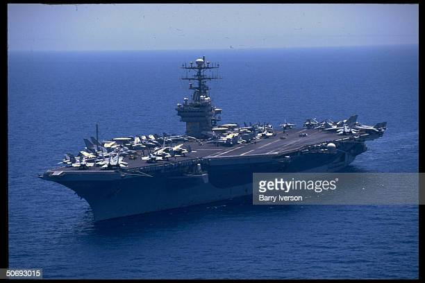 Aircraft carrier USS Carl Vinson on patrol enforcing UN Maritime Interception OP imposing economic trade sanctions on Iraq in northern Persian Gulf