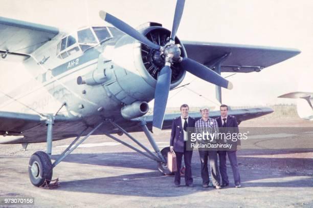 Flugzeug Crew gegen Antonov AN-2 bei Ust-Ilimsk Flughafen, 80er Jahre.